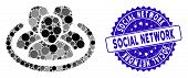 Collage Social Network Icon And Grunge Stamp Seal With Social Network Phrase. Mosaic Vector Is Creat poster