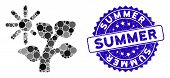 Mosaic Summer Tree Icon And Corroded Stamp Seal With Summer Phrase. Mosaic Vector Is Created With Su poster