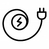 Electric Cable Plug Icon. Outline Electric Cable Plug Vector Icon For Web Design Isolated On White B poster