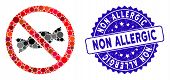 Mosaic No Candy Icon And Corroded Stamp Seal With Non Allergic Caption. Mosaic Vector Is Formed With poster