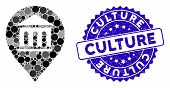 Collage Museum Marker Icon And Grunge Stamp Watermark With Culture Text. Mosaic Vector Is Composed W poster
