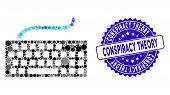 Mosaic Computer Keyboard Icon And Distressed Stamp Seal With Conspiracy Theory Phrase. Mosaic Vector poster