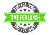 Time For Lunch Round Stamp With Green Ribbon. Time For Lunch poster