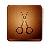 Brown Scissors Hairdresser Icon Isolated On White Background. Hairdresser, Fashion Salon And Barber  poster