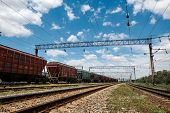 Industrial railway - wagons, rails and infrastructure, electric power supply, Cargo transportation a poster