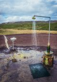 Shower Next To Road To Krafla Power Station, Largest Geothermal Power Station In Iceland poster