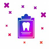 Color Clipboard With Dental Card Or Patient Medical Records Icon Isolated On White Background. Denta poster