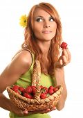 pic of youg  - cute youg woman with strawberry - JPG