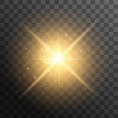 Realistic Sun Rays. Yellow Sun Ray Glow Abstract Shine Light Effect Starburst Sun Beam Sunshine Glow poster