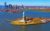 Aerial View Of The Statue Of Liberty In New York Reflex poster