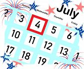 Calendar For The Month Of July With A Red Stroke, Independence Day Of America, Stars And Fireworks O poster
