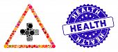 Mosaic Health Warning Icon And Corroded Stamp Seal With Health Caption. Mosaic Vector Is Designed Wi poster