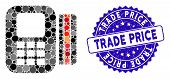 Mosaic Card Processor Icon And Rubber Stamp Seal With Trade Price Text. Mosaic Vector Is Designed Wi poster