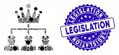 Mosaic Monarchy Structure Icon And Grunge Stamp Seal With Legislation Text. Mosaic Vector Is Designe poster