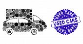 Collage Cars Icon And Corroded Stamp Seal With Used Cars Phrase. Mosaic Vector Is Composed With Cars poster