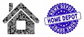 Collage Home Icon And Rubber Stamp Seal With Home Depot Text. Mosaic Vector Is Formed With Home Icon poster