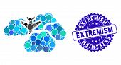 Mosaic Falling Airplane In Clouds Icon And Grunge Stamp Watermark With Extremism Caption. Mosaic Vec poster