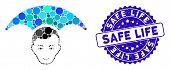 Mosaic Head Umbrella Icon And Corroded Stamp Seal With Safe Life Text. Mosaic Vector Is Composed Wit poster
