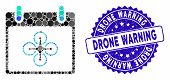 Collage Airdrone Calendar Day Icon And Grunge Stamp Seal With Drone Warning Caption. Mosaic Vector I poster