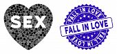 Mosaic Sex Heart Icon And Grunge Stamp Seal With Fall In Love Text. Mosaic Vector Is Created With Se poster