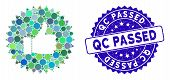 Mosaic Approval Rosette Icon And Distressed Stamp Seal With Qc Passed Phrase. Mosaic Vector Is Compo poster