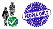 Mosaic For People Only Icon And Grunge Stamp Seal With People Only Phrase. Mosaic Vector Is Formed W poster