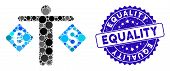 Mosaic Currency Trader Icon And Rubber Stamp Seal With Equality Text. Mosaic Vector Is Composed From poster