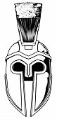stock photo of hoplite  - Illustration of front on Spartan helmet or Trojan helmet also called a Corinthian helmet - JPG