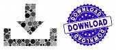 Mosaic Download Icon And Rubber Stamp Seal With Download Caption. Mosaic Vector Is Formed With Downl poster