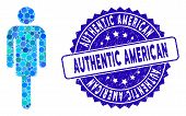 Collage Man Icon And Distressed Stamp Seal With Authentic American Caption. Mosaic Vector Is Created poster