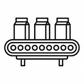Milk Package Assembly Line Icon. Outline Milk Package Assembly Line Vector Icon For Web Design Isola poster