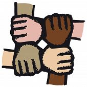 stock photo of joining hands  - concept of solidarity - JPG