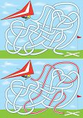 picture of hang-gliding  - Hang gliding maze for kids with a solution - JPG
