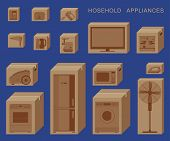 Household Appliances In Boxes. Cardboard Boxes With Appliances poster