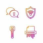 Set Line Paper Shredder Confidential, Key , Protection Of Personal Data And Shield With Wifi Wireles poster