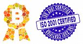 Collage Bitcoin Certificate Seal Icon And Rubber Stamp Seal With Iso 2001 Certified Text. Mosaic Vec poster