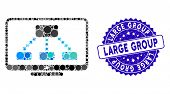 Mosaic Hierarchy Monitor Icon And Grunge Stamp Seal With Large Group Text. Mosaic Vector Is Created  poster