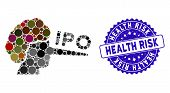 Mosaic Ipo Liar Icon And Distressed Stamp Watermark With Health Risk Phrase. Mosaic Vector Is Design poster