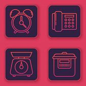 Set Line Alarm Clock , Scales , Telephone And Slow Cooker . Blue Square Button. Vector poster