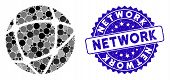 Mosaic Network Icon And Rubber Stamp Watermark With Network Text. Mosaic Vector Is Formed With Netwo poster