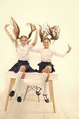Healthier Hair From Root To Tip. Adorable Little Girls With Flying Hair Sitting On Desk. Cute Small  poster
