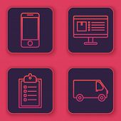 Set Line Mobile Phone With App Delivery Tracking, Verification Of Delivery List Clipboard , Computer poster
