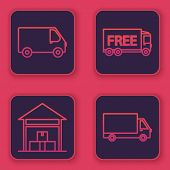 Set Line Delivery Cargo Truck Vehicle , Warehouse , Free Delivery Service And Delivery Cargo Truck V poster
