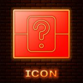 Glowing Neon Mystery Box Or Random Loot Box For Games Icon Isolated On Brick Wall Background. Questi poster