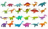 Dinosaur Icons Set. Cartoon Set Of Dinosaur Vector Icons For Web Design poster