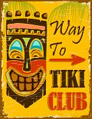 stock photo of tiki  - illustration of vintage poster for way to tiki club - JPG