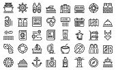 Cruise Icons Set. Outline Set Of Cruise Vector Icons For Web Design Isolated On White Background poster