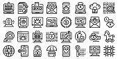 Fraud Icons Set. Outline Set Of Fraud Vector Icons For Web Design Isolated On White Background poster