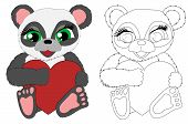 Vector Panda - Coloring And Colorful. Cartoon Panda. Children Toy And Cartoon Character. Flat Ilustr poster