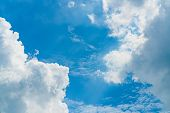 Beautiful Blue Sky And White Cumulus Clouds Abstract Background. Cloudscape Background. Blue Sky And poster